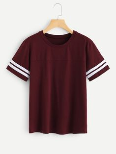 To find out about the Stripe Contrast Cuff Tee at SHEIN, part of our latest T-Shirts ready to shop online today! Teen Fashion Outfits, Girl Fashion, Casual Outfits, Girl Outfits, Summer Outfits, Womens Fashion, Cheap Fashion, Women's Casual, Mode Kawaii
