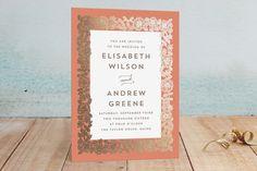 """Elisabeth Floral"" - Rustic Foil-pressed Wedding Invitations in Kraft by Katharine Watson."