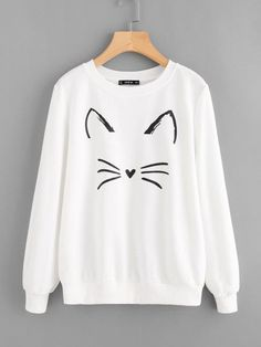 SHEIN Cartoon Cat Print Sweatshirt Pullovers Women White Long Sleeve Autumn New Fashion Casual Women Sweatshirts Sweatshirts Online, Printed Sweatshirts, Hoodies, Hoodie Sweatshirts, Cool Outfits, Casual Outfits, Kawaii Clothes, Sweat Shirt, Direct To Garment Printer