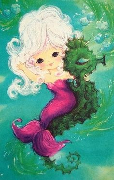 Pretty Mermaid and Seahorse -- Vintage Greeting Card Mermaid Light Switch Cover -- Oversized Fantasy Mermaids, Mermaids And Mermen, Mythical Creatures, Sea Creatures, Illustrations, Illustration Art, Mermaid Fairy, Mermaid Pics, Manga Mermaid