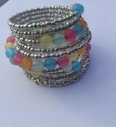 Multicolor Rainbow Pastel Bracelet - Jewelry creation by CHAUNTES JEWELS Rainbow Pastel, Jewelry Bracelets, Bangles, Glass Jewelry, Jewelry Making, Jewels, How To Make, Inspiration, Ideas
