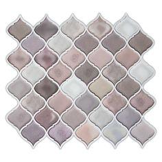 "Amazon.com: Multi color Pink Arabesque Peel and stick Tile Backsplash kitchen bathroom decorative tiles 10""x11""(6-Pack): Home & Kitchen"