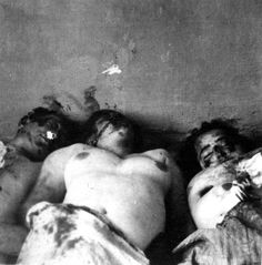 Kielce, Poland, Bodies at the site of a pogrom, 1946. The photographs are from a police investigation.