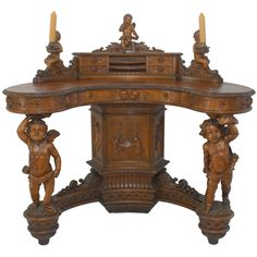 Important Renaissance Revival Walnut Desk by Valentino Besarel - Italy c.1870