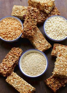 """Homemade Cereal Bars - """"I do not use Agave for dietary reasons so maybe use honey in the first recipe? Also, I would replace the carob chips with dark chocolate. Just sayin. Gluten Free Snacks, Gluten Free Breakfasts, Foods With Gluten, Gluten Free Cooking, Gluten Free Recipes, Breakfast Recipes, Snack Recipes, Cooking Recipes, Bar Recipes"""