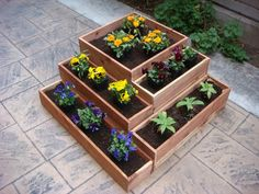 Flower planter garden pot plant box wood 21 x 21 inch x 8 inch 5 sections fit together indoor or outdoor Redwood Cedar wood Planter Box Plans, Wood Planter Box, Wood Planters, Flower Planters, Garden Planters, Herb Garden, Wooden Raised Garden Bed, Cheap Raised Garden Beds, Large Wooden Planters