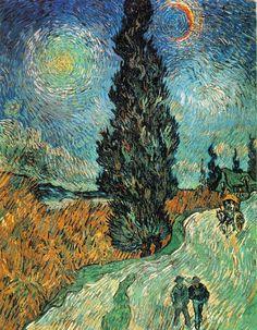 Ван Гог. Картина «Пейзаж с дорогой, кипарисом и звездой»