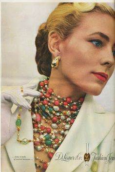 Lisner 1948 40s print ad 50s multi strand necklace green coral