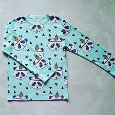 Купить Лонгслив Панды на мятном - мятный, панда, панды, индейцы, лонгслив, интерлок, интерлок пенье