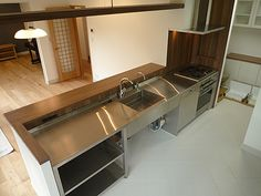 stainless steel sink incorporated into the counter