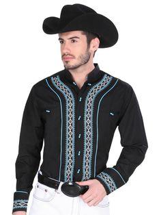 33866 Camisa Charra Caballero El Senor De Los Cielos, 65% Polyester 35%Cotton - Black