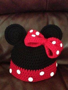 DIY Crochet Minnie Little Mouse Hat Pattern. Vestiti Per Bambini ... 3ea098da103f