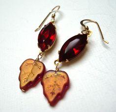 Vintage Red Pressed Glass Rhinestone Drop by lestroisfleurs, $24.00