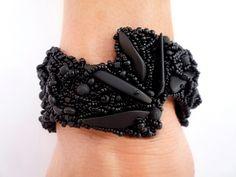 All Matte BlackSea GlassBeaded Art JewelryBeaded by BeadedAsylum, $300.00
