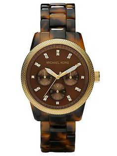 I love tortoiseshell watches! The rich colored brown tones, gold accents, all together give you a classy chic yet casual accent to any outfit!  It's a boho-ish, yet classic way to be trendy if you don't like wearing an all gold watch. Michael Kors Ritz | Piperlime