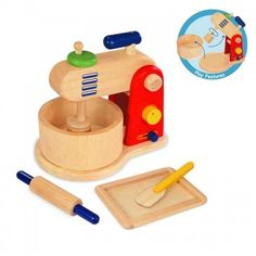 This wooden features a food mixer with rotating whisk, mixing bowl, rolling pin…  #toys2learnimtoy#baking#mixer#set#kitchen #cook#cooking#play#pretendplay#toys#toy #children #child #kids