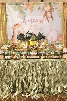 Take a look at this wonderful safari baby shower! The dessert table is fantastic! See more party ideas and share yours at CatchMyParty.com  #catchmyparty #partyideas #safariparty #sfaraibabyshower #animalbabyshower #boybabyshower