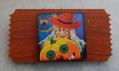 Halloween Witch & Pumpkin Ticket Brooch or Scarf Pin Wood Jewelry Multi-Color #handmade http://www.ebay.com/itm/161863371464?ssPageName=STRK:MESELX:IT&_trksid=p3984.m1555.l2649