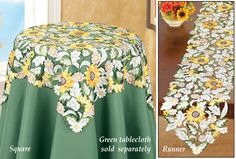 How to decorate a kitchen in a sunflower themed decor. Kitchen themes featuring sunflowers for decorating including curtains, towels, rugs Table Linens, Table And Chairs, Embroidery Applique, Machine Embroidery, Sunflower Themed Kitchen, Brother Innovis, Lace Beadwork, Green Tablecloth, Collections Etc