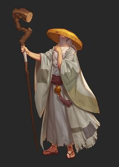 asian elder man male wizard mage magic-user spellcaster hat staff robes moc poc character art