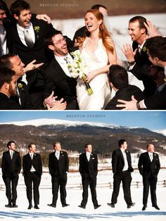 hahaha love the groomsmen pose - penguins in the snow :)