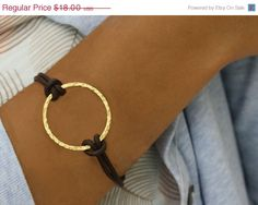 leather bracelet with hammered ring
