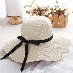 d7cce019b057d Pas cher Été chapeau de paille femmes grand large bord chapeau de plage  soleil chapeau pliable