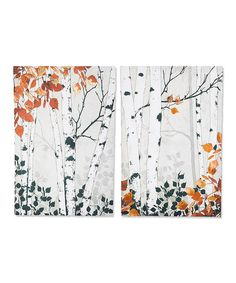 Look what I found on #zulily! Gold Fall Birch Wall Canvas - Set of Two #zulilyfinds