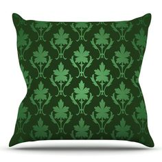 East Urban Home Emerald Damask Throw Pillow Size: