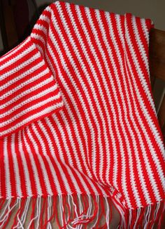 Red and White Striped Baby Afghan  Peppermint Striped Afghan