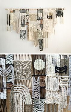 Latest macrame works by fiber artist Sally England Fabric manipulation and textile design – Macrame by Sally England, fiber artist Weaving Textiles, Weaving Art, Loom Weaving, Tapestry Weaving, Hand Weaving, Macrame Design, Macrame Art, Weaving Projects, Macrame Projects