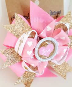 Valentines Day Pink Hair Bow- Pink and metallic gold glitter- Babys First Valentines- Heart Headband- 4 inch Pinwheel Bow on clip- #286 by ClamsAndaHamDog on Etsy