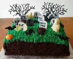Graveyard cake #cake #dirt #buttercream #oreo #white #chocolate #whitechocolate #ghost #pumpkin #halloween #tomb #stone #tombstone #bat #grave #graveyard #tree #spooky #zombie #halloween #square #trinitybaking #san diego www.trinitybaking.vpweb.com
