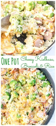 This One Pot Cheesy Kielbasa Broccoli and Rice is not only fast and easy to prep make AND clean up after but it's a delicious weeknight dinner too! Fast Dinner Recipes, Real Food Recipes, Healthy Recipes, Fast Easy Dinner, Easy Recipes, Cooking Recipes, Potato Recipes, Crockpot Recipes, Soup Recipes