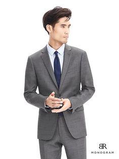 BR Monogram Gray Italian Wool Suit Jacket