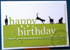 Stargroves CAS card Memory Box Happy Birthday die All Occasions cats twine
