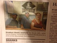 Dominion Post Article Teewende Sandwidi (left), Derrick Shanks (center, owner) and Traci Shanks (right, owner)