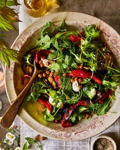 Serve this roasted red pepper, aubergine and chickpea salad as part of a knockout summer feast. Dot with the labneh before serving. Healthy Recipes On A Budget, Vegetarian Recipes, Cooking Recipes, Vegetarian Cooking, Crispy Chickpeas, Canned Chickpeas, Vegetable Side Dishes, Vegetable Recipes, Veggie Food