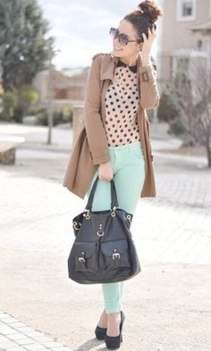 Pastel Jeans Blanco in Pants, Primark in Bags, Forever 21 (old) in Heels / Wedges, Zara in Jackets, Pull and Bear in Shirt / Blouses Spring Summer Fashion, Autumn Winter Fashion, Spring Outfits, Spring Wear, Spring Time, Looks Style, Looks Cool, My Style, Pastel Jeans
