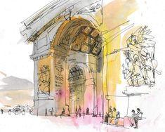 Arc De Triomphe, Paris Paris Wall Art, Paris Art, Framed Prints, Canvas Prints, Big Canvas, Triomphe, Yellow Art, Color Filter, Urban Sketchers