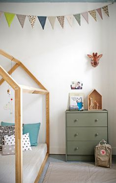 house shaped bed, flag bunting, sage painted dresser, kids room