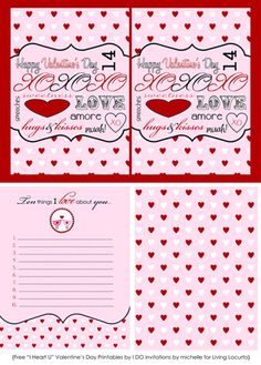 Cute free printables for Valentines Day.
