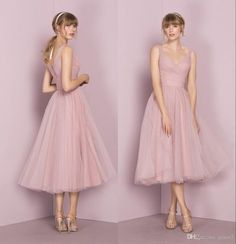 bbec47fedad 2018 Vintage Bridesmaid Dresses 1950 s with Tea Length and V Neck Pleated  Tulle Cute Bridal Party Gowns Custom Made