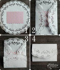 Steps for Valentine DIY, Doily Envelope Tutorial