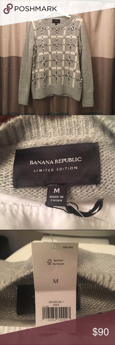 ✨HP✨ Banana Republic • Plaid Embellished Pullover *Relisting to clean up likes and comments.                       ✨Save 30% off when you bundle 2+ items ✨.     Stylish NTW Pullover.  Bought and sat in my closet. Needs a home where she will be worn with love! 💕 Beautiful Jacquard with beading. 50% wool, 40% acrylic, 10% alpaca hair. Dry clean only. -  ☺ Banana Republic Sweaters Crew & Scoop Necks
