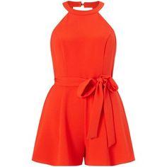 Miss Selfridge Petites 90s Playsuit, Orange