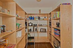 "Contemporary Pantry with Built-in bookshelf, 2-5/8"" Solid Santos Mahogany Hardwood Flooring in Natural, Hardwood floors"