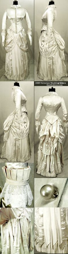 1880 Victorian Wedding gown of Silk with French lace.