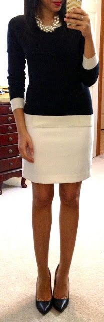 Love this look!   F21 sweater/pencil skirt/necklace, Prabal Gurung for Target Pointy-Toe Pump (in black)