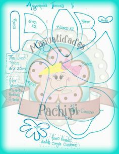 Cuaderno vaquita molde 1/2 Foam Crafts, Paper Crafts, Paper Flowers, Templates, Dolls, Pattern, Handmade, Ideas, Easy Crafts